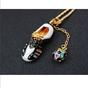 Jewelry - Crystal Shoe With Soccer Ball ⚽️ Necklace
